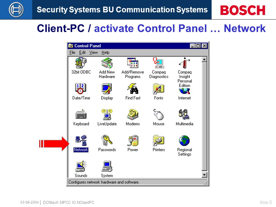 Security Systems BU Communication Systems Slide 5 DCNtech MPCC IO NClientPC 03-06-2004 Client-PC / activate Control Panel … Network