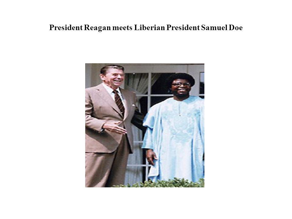 President Reagan meets Liberian President Samuel Doe