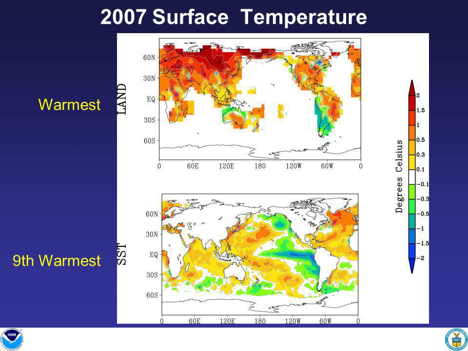 Warmest 9th Warmest 2007 Surface Temperature
