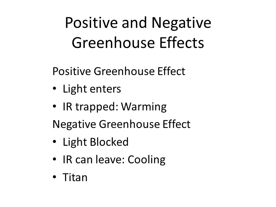 Positive and Negative Greenhouse Effects Positive Greenhouse Effect Light enters IR trapped: Warming Negative Greenhouse Effect Light Blocked IR can leave: Cooling Titan