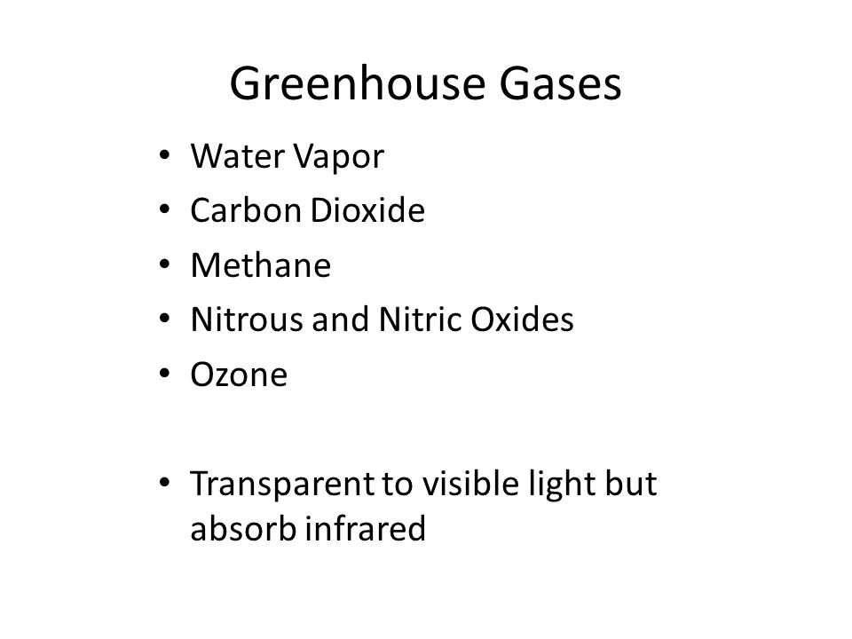Greenhouse Gases Water Vapor Carbon Dioxide Methane Nitrous and Nitric Oxides Ozone Transparent to visible light but absorb infrared