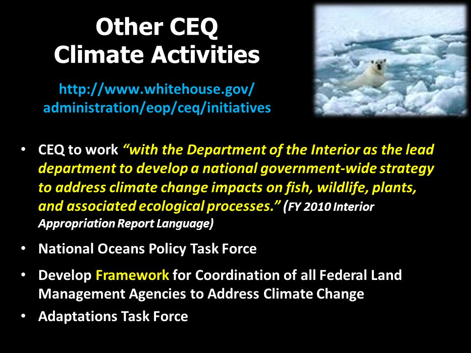 Other CEQ Climate Activities http://www.whitehouse.gov/ administration/eop/ceq/initiatives CEQ to work with the Department of the Interior as the lead department to develop a national government-wide strategy to address climate change impacts on fish, wildlife, plants, and associated ecological processes. ( FY 2010 Interior Appropriation Report Language) National Oceans Policy Task Force Develop Framework for Coordination of all Federal Land Management Agencies to Address Climate Change Adaptations Task Force