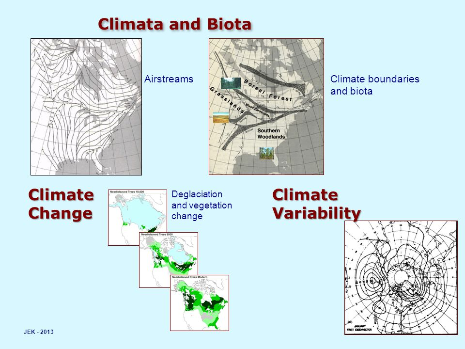 Climata and Biota JEK - 2013 AirstreamsClimate boundaries and biota ClimateChange Deglaciation and vegetation change ClimateVariability