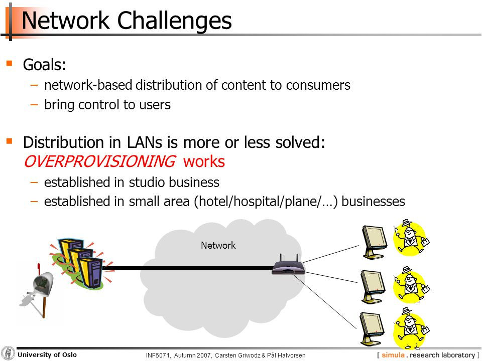INF5071, Autumn 2007, Carsten Griwodz & Pål Halvorsen University of Oslo Network Challenges  Goals: −network-based distribution of content to consumers −bring control to users  Distribution in LANs is more or less solved: OVERPROVISIONING works −established in studio business −established in small area (hotel/hospital/plane/…) businesses Network