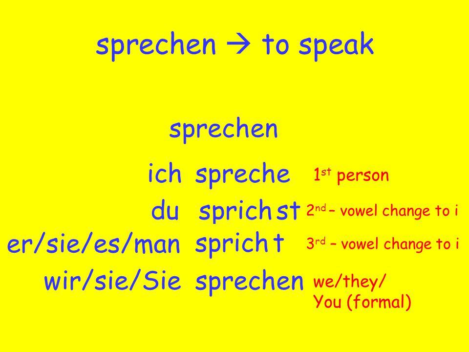 sprechen  to speak sprechen sprecheich sprechdu sprech er/sie/es/man wir/sie/Sieen 1 st person we/they/ You (formal) 2 nd – vowel change to i 3 rd – vowel change to i sprich st t