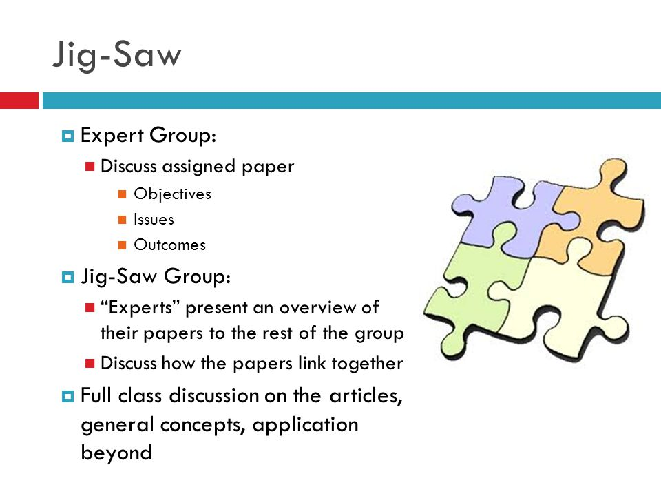 "Jig-Saw  Expert Group: Discuss assigned paper Objectives Issues Outcomes  Jig-Saw Group: ""Experts"" present an overview of their papers to the rest o"