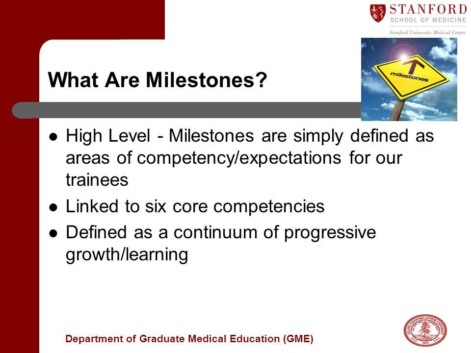 Department of Graduate Medical Education (GME) What Are Milestones.