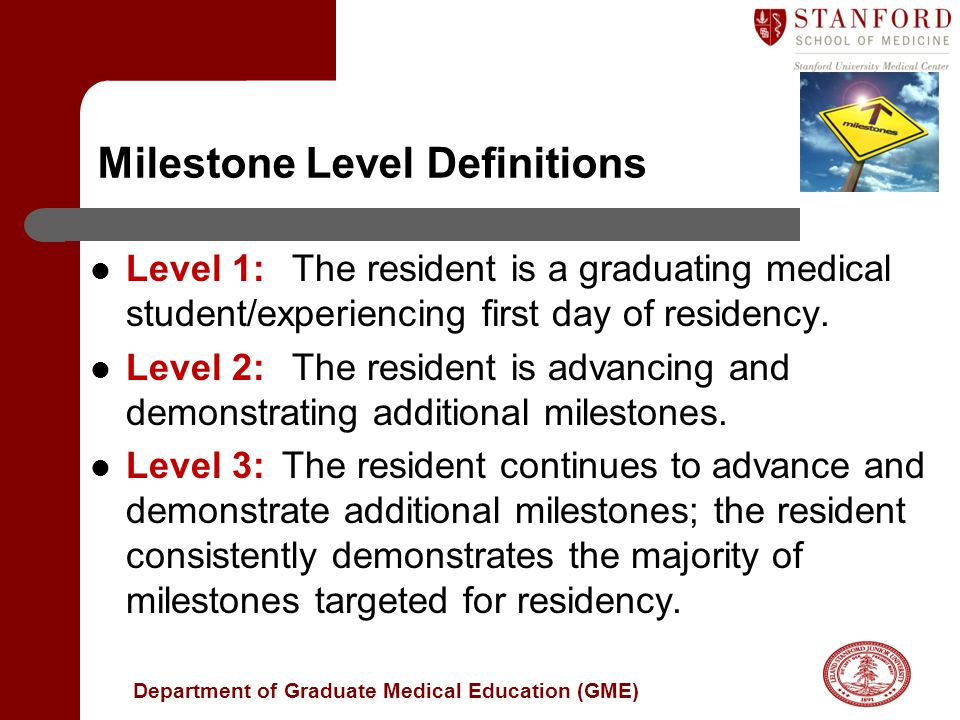 Department of Graduate Medical Education (GME) Milestone Level Definitions Level 1: The resident is a graduating medical student/experiencing first day of residency.
