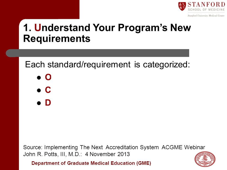 Department of Graduate Medical Education (GME) Each standard/requirement is categorized: Outcome - All programs must adhere Core - All programs must adhere Detail – Considered mandatory for new programs and those that fail to meet core requirements.