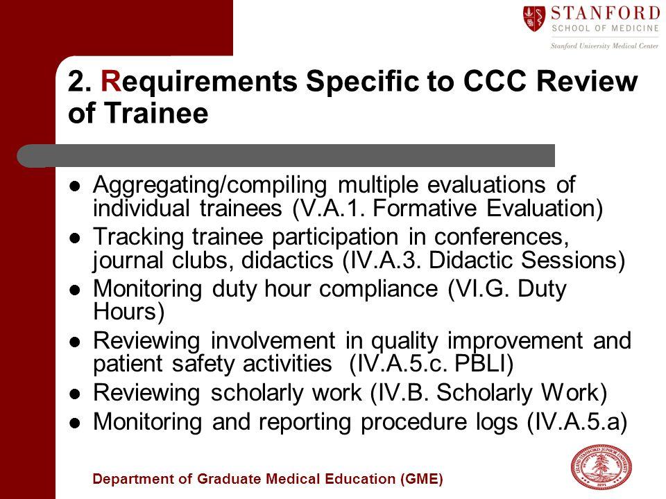 Department of Graduate Medical Education (GME) 2.