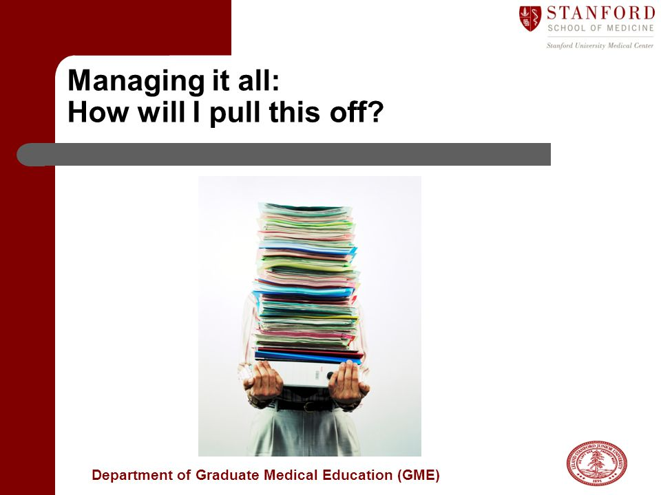 Department of Graduate Medical Education (GME) Managing it all: How will I pull this off?