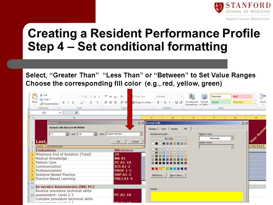 Department of Graduate Medical Education (GME) Select, Greater Than Less Than or Between to Set Value Ranges Choose the corresponding fill color (e.g., red, yellow, green) Creating a Resident Performance Profile Step 4 – Set conditional formatting