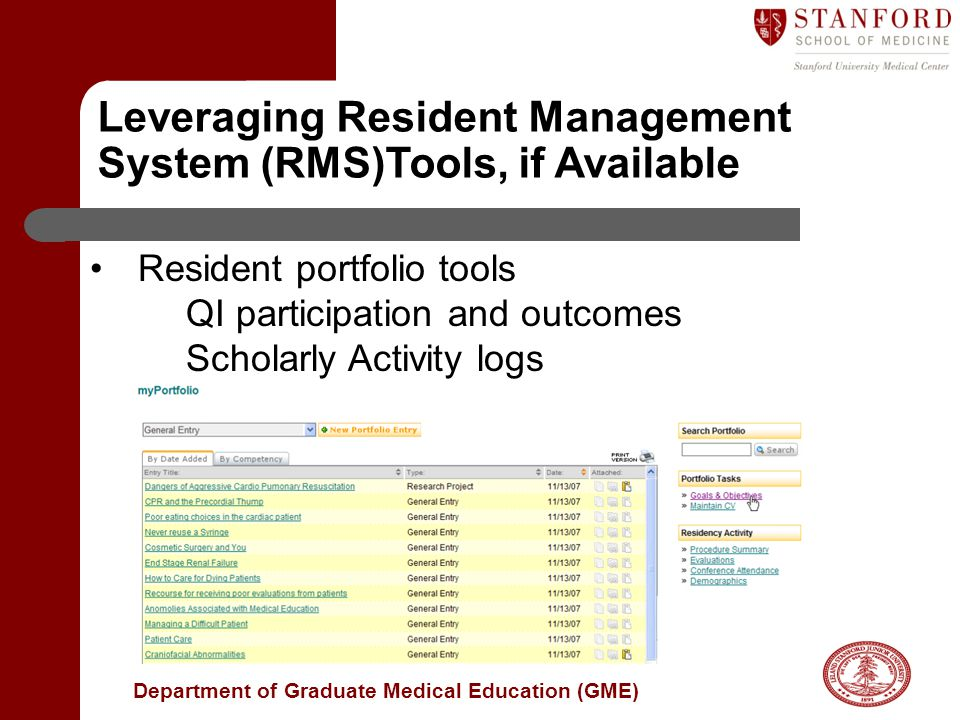 Department of Graduate Medical Education (GME) Resident portfolio tools QI participation and outcomes Scholarly Activity logs Leveraging Resident Management System (RMS)Tools, if Available