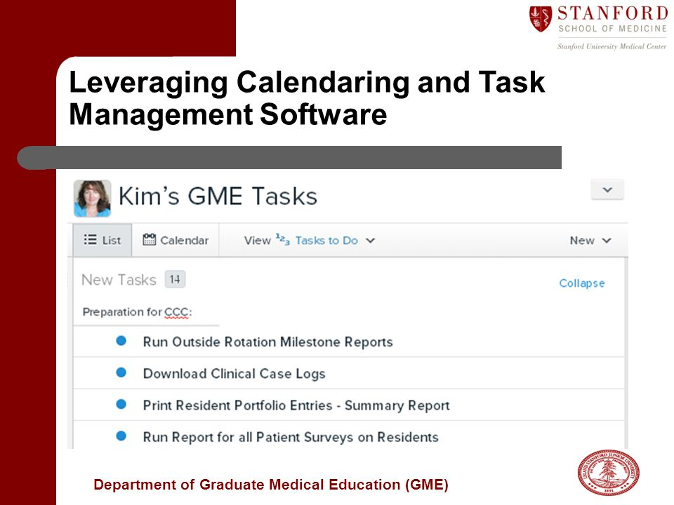 Department of Graduate Medical Education (GME) Leveraging Calendaring and Task Management Software