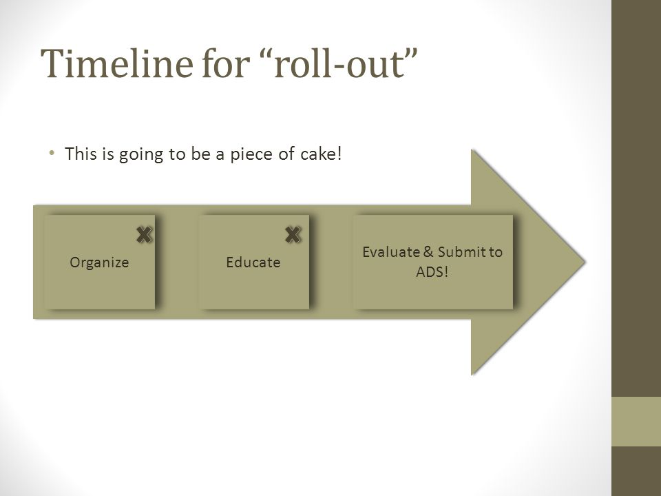 Timeline for roll-out This is going to be a piece of cake.