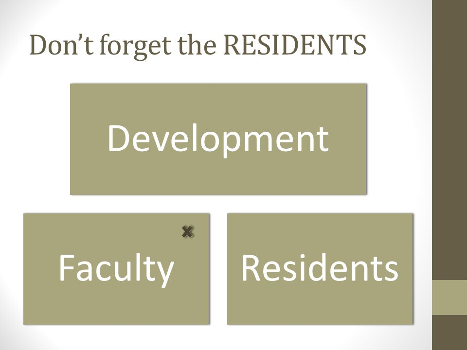 Don't forget the RESIDENTS Development FacultyResidents