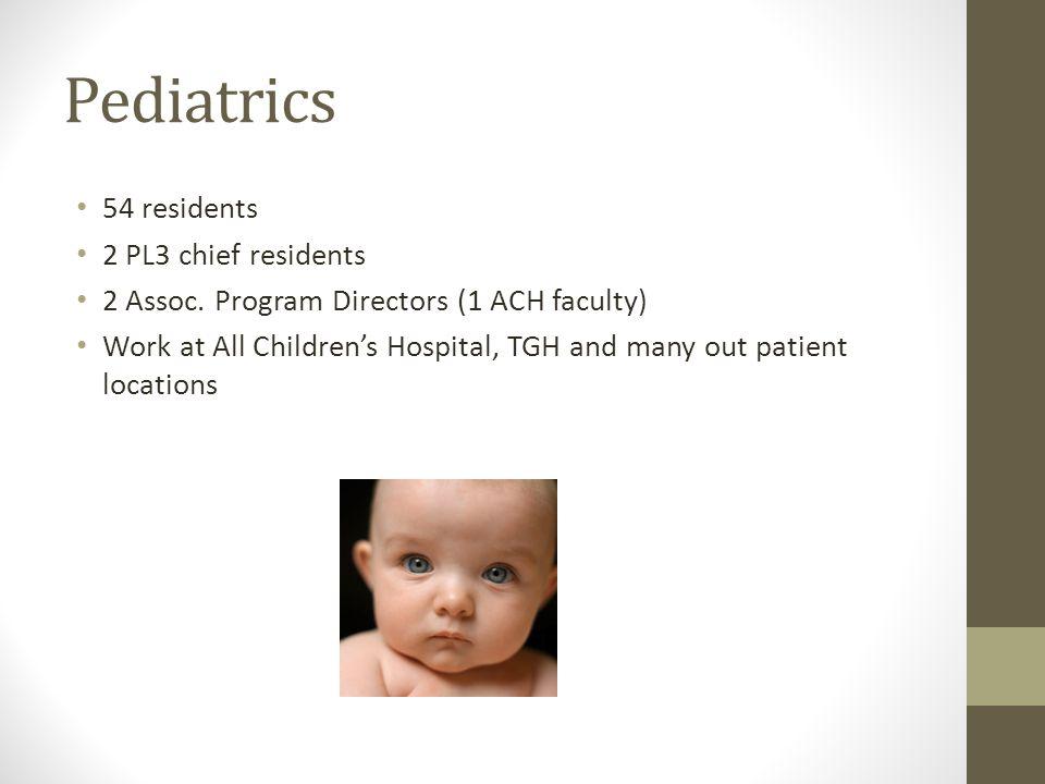 Pediatrics 54 residents 2 PL3 chief residents 2 Assoc.