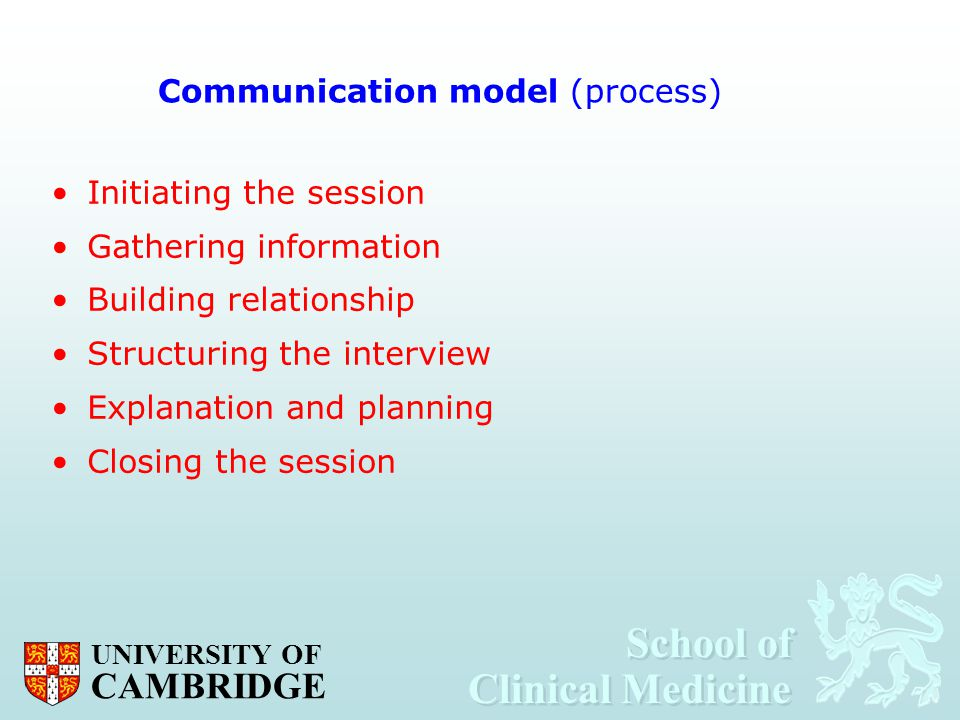School of Clinical Medicine School of Clinical Medicine UNIVERSITY OF CAMBRIDGE Communication model (process) Initiating the session Gathering informa