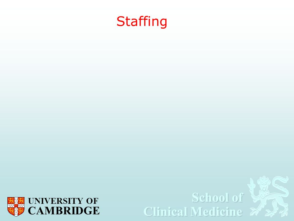 School of Clinical Medicine School of Clinical Medicine UNIVERSITY OF CAMBRIDGE Staffing