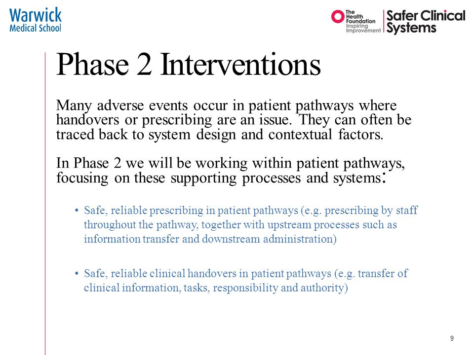 Phase 2 Interventions Many adverse events occur in patient pathways where handovers or prescribing are an issue.