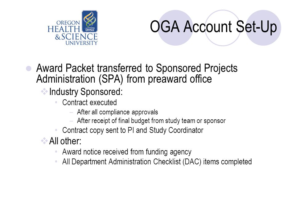OGA Account Set-Up Award Packet transferred to Sponsored Projects Administration (SPA) from preaward office  Industry Sponsored: Contract executed –A
