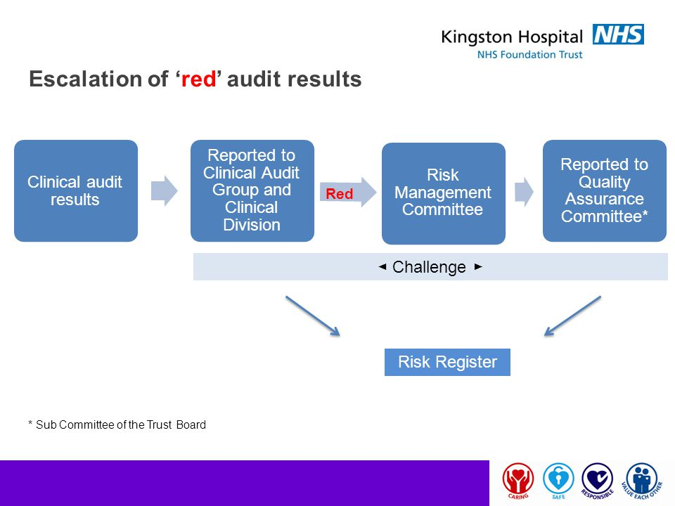 Escalation of 'red' audit results Clinical audit results Reported to Clinical Audit Group and Clinical Division Risk Management Committee Reported to
