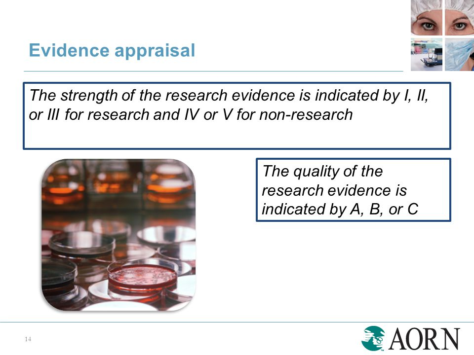 Evidence appraisal 14 The strength of the research evidence is indicated by I, II, or III for research and IV or V for non-research The quality of the