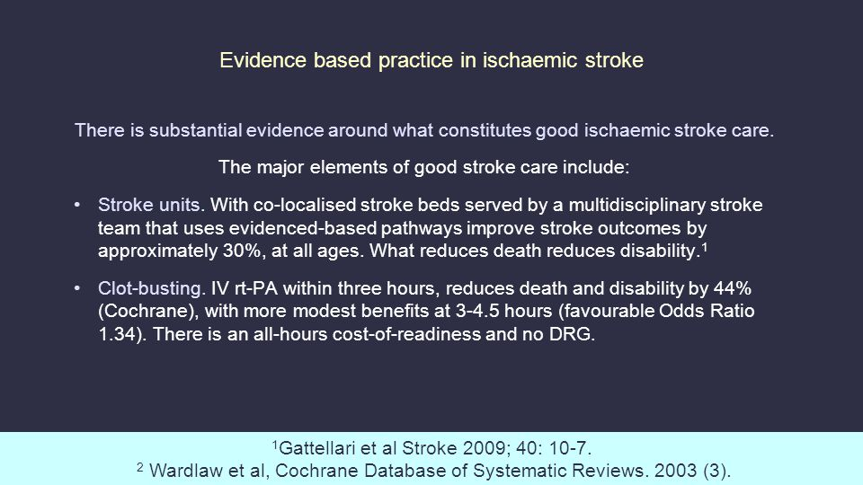 Evidence based practice in ischaemic stroke There is substantial evidence around what constitutes good ischaemic stroke care.