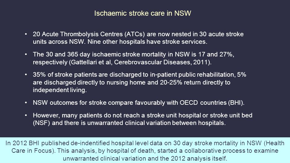Ischaemic stroke care in NSW 20 Acute Thrombolysis Centres (ATCs) are now nested in 30 acute stroke units across NSW.