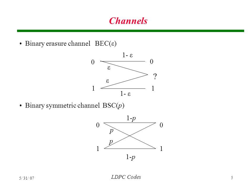 LDPC Codes 5/ 31/ 07 106 Density Evolution Visualization Example: (3,4)-regular LDPC code p 3  0.4421 p fraction of erasures from variable nodes q fraction of erasures from check nodes q 3  0.8584
