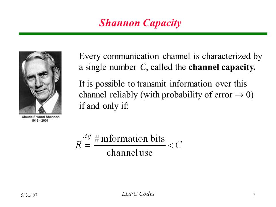 LDPC Codes 5/ 31/ 07 138 Dicode (1-D) Channel Results Rate 7/8 Regular j=3 n=495 Rate 7/8 Regular j=3 n=495