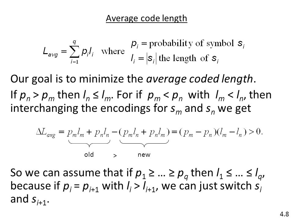 Average code length Our goal is to minimize the average coded length.