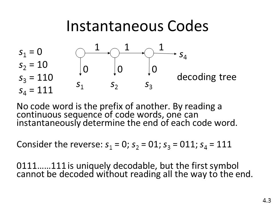 Instantaneous Codes No code word is the prefix of another.