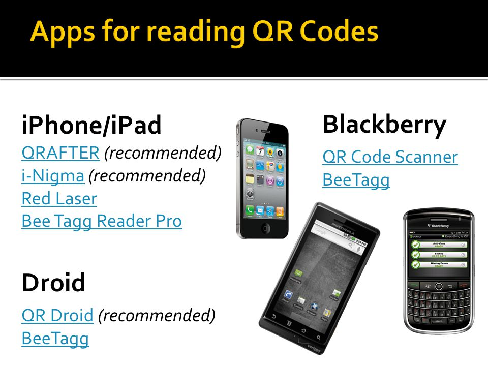 iPhone/iPad QRAFTERQRAFTER (recommended) i-Nigmai-Nigma (recommended) Red Laser Bee Tagg Reader Pro Droid QR DroidQR Droid (recommended) BeeTagg Blackberry QR Code Scanner BeeTagg