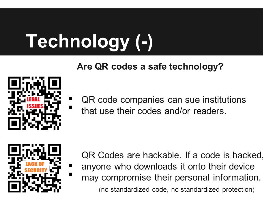 Technology (-) Are QR codes a safe technology.