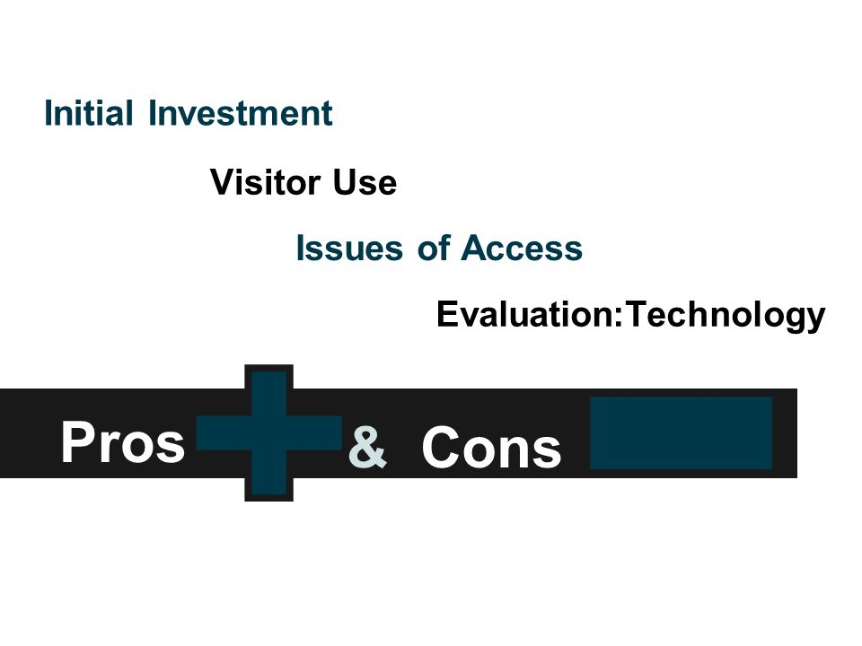 Pros Initial Investment Visitor Use Issues of Access Evaluation:Technology & Cons