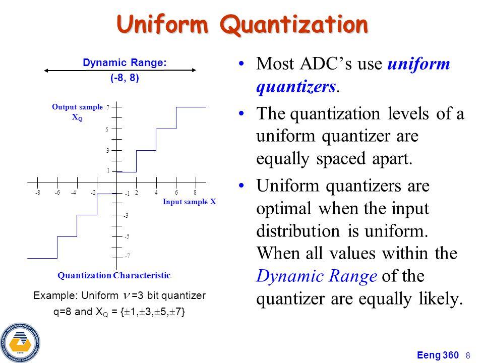 Eeng 360 8 Uniform Quantization Most ADC's use uniform quantizers. The quantization levels of a uniform quantizer are equally spaced apart. Uniform qu