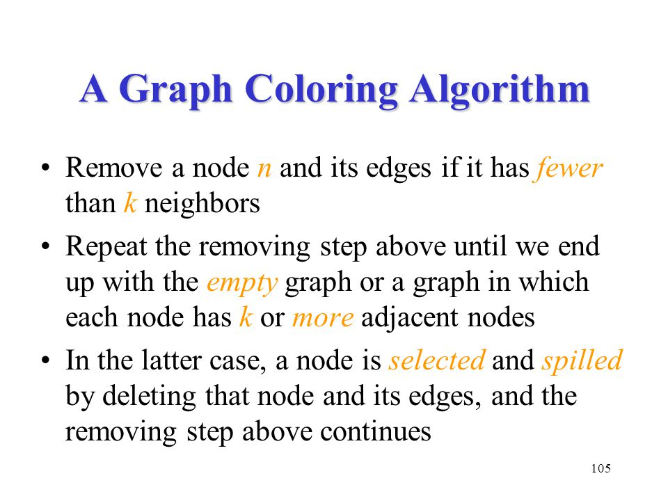 105 A Graph Coloring Algorithm Remove a node n and its edges if it has fewer than k neighbors Repeat the removing step above until we end up with the empty graph or a graph in which each node has k or more adjacent nodes In the latter case, a node is selected and spilled by deleting that node and its edges, and the removing step above continues