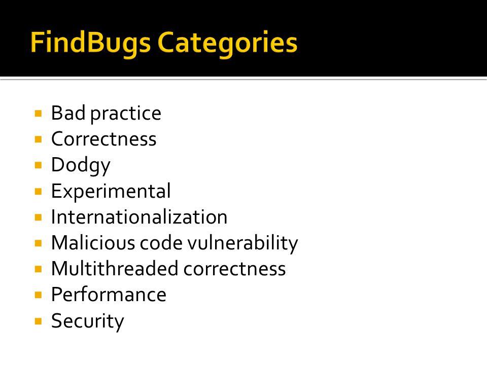 Bad practice  Correctness  Dodgy  Experimental  Internationalization  Malicious code vulnerability  Multithreaded correctness  Performance  Security