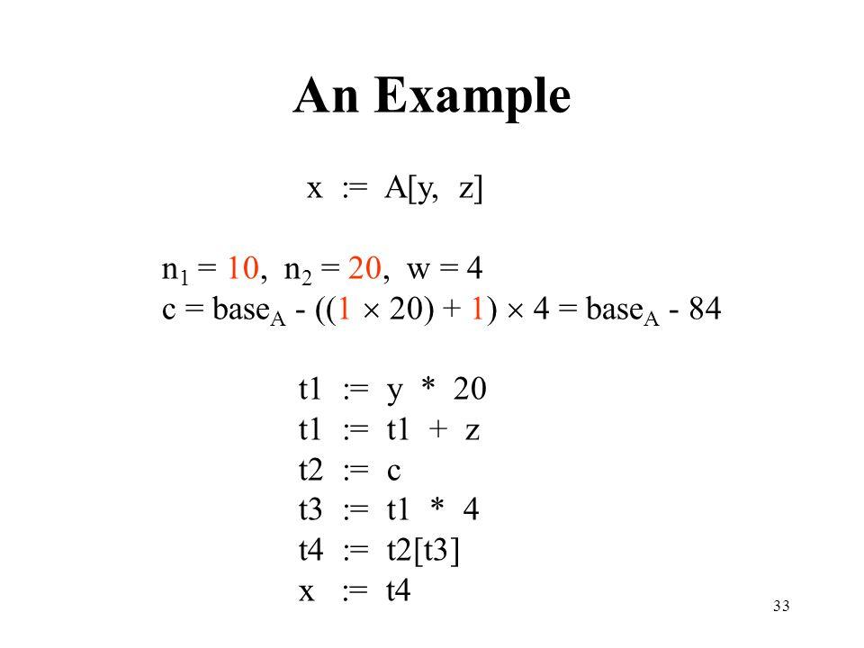 33 An Example x := A[y, z] n 1 = 10, n 2 = 20, w = 4 c = base A - ((1  20) + 1)  4 = base A - 84 t1 := y * 20 t1 := t1 + z t2 := c t3 := t1 * 4 t4 := t2[t3] x := t4