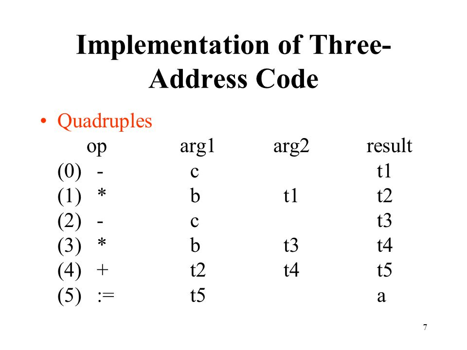 7 Implementation of Three- Address Code Quadruples oparg1arg2result (0) - c t1 (1) * b t1 t2 (2) - c t3 (3) * b t3 t4 (4) + t2 t4 t5 (5) := t5 a