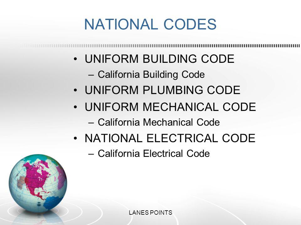 NATIONAL CODES UNIFORM BUILDING CODE –California Building Code UNIFORM PLUMBING CODE UNIFORM MECHANICAL CODE –California Mechanical Code NATIONAL ELECTRICAL CODE –California Electrical Code LANES POINTS