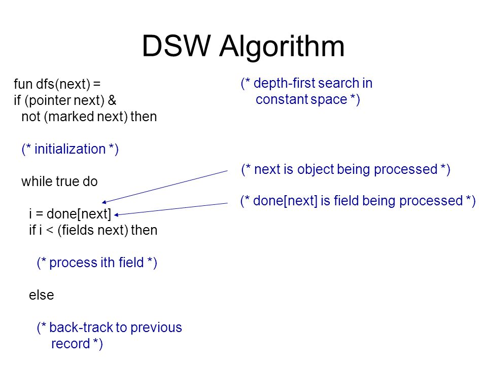 DSW Algorithm fun dfs(next) = if (pointer next) & not (marked next) then (* initialization *) while true do i = done[next] if i < (fields next) then (* process ith field *) else (* back-track to previous record *) (* depth-first search in constant space *) (* next is object being processed *) (* done[next] is field being processed *)