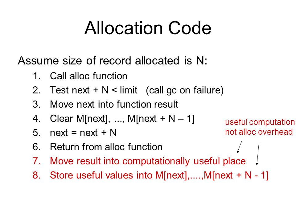 Allocation Code Assume size of record allocated is N: 1.Call alloc function 2.Test next + N < limit (call gc on failure) 3.Move next into function result 4.Clear M[next],..., M[next + N – 1] 5.next = next + N 6.Return from alloc function 7.Move result into computationally useful place 8.Store useful values into M[next],....,M[next + N - 1] useful computation not alloc overhead