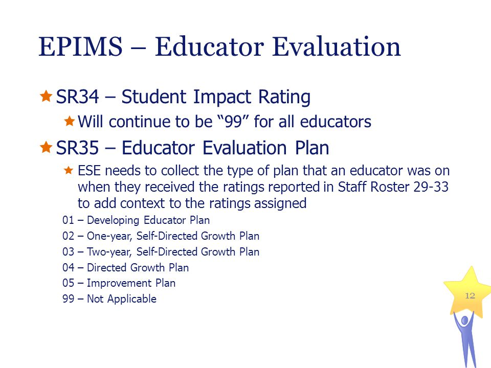 EPIMS – Educator Evaluation  SR34 – Student Impact Rating  Will continue to be 99 for all educators  SR35 – Educator Evaluation Plan  ESE needs to collect the type of plan that an educator was on when they received the ratings reported in Staff Roster 29-33 to add context to the ratings assigned 01 – Developing Educator Plan 02 – One-year, Self-Directed Growth Plan 03 – Two-year, Self-Directed Growth Plan 04 – Directed Growth Plan 05 – Improvement Plan 99 – Not Applicable 12