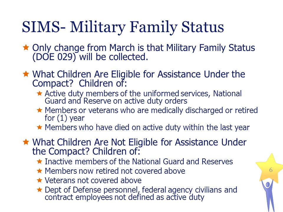 SIMS- Military Family Status  Only change from March is that Military Family Status (DOE 029) will be collected.