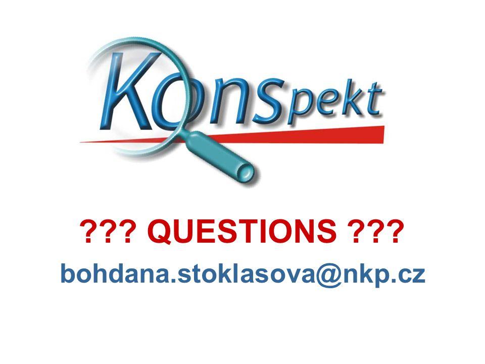 ??? QUESTIONS ??? bohdana.stoklasova@nkp.cz