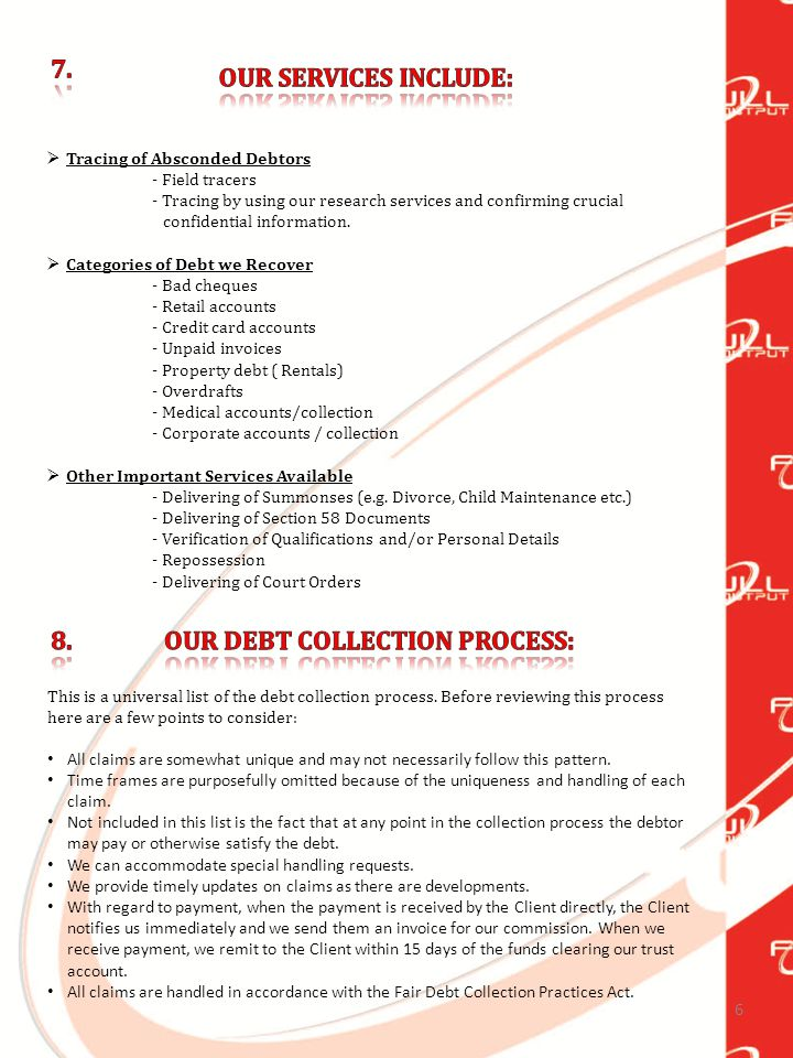 7 The Debt Collection Process: Steps for Debt Recovery Account is placed for debt collection.