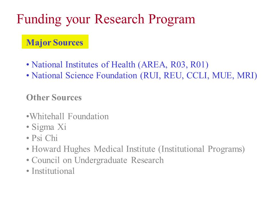 Major Sources National Institutes of Health (AREA, R03, R01) National Science Foundation (RUI, REU, CCLI, MUE, MRI) Other Sources Whitehall Foundation
