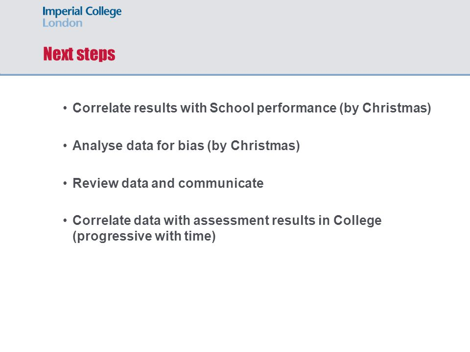 Next steps Correlate results with School performance (by Christmas) Analyse data for bias (by Christmas) Review data and communicate Correlate data with assessment results in College (progressive with time)
